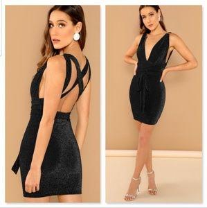 Dresses & Skirts - Crisscross Open Back Plunging Luxe Dress